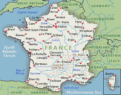 Resource image with printable map of france